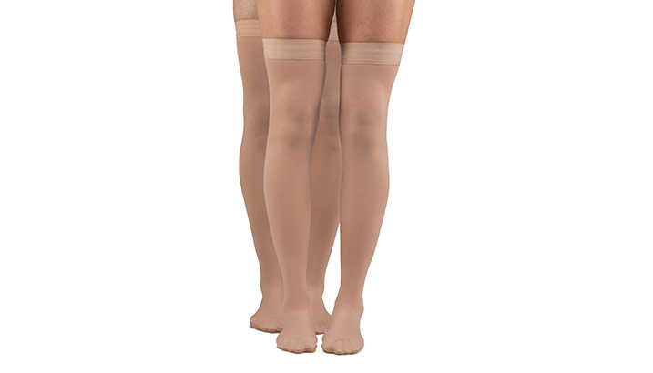 dba46b73e35 About Microfiber Opaque Plus Thigh High Compression Stockings