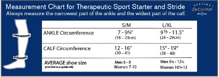 Size Chart for Therapeutic Sport Socks Starter OTC and Stride Calf