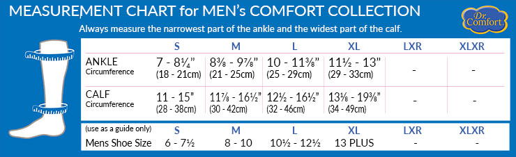 Dr Comfort Men's Comfort Collection Size Chart