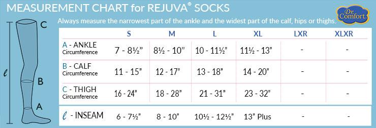 Dr Comfort ReJuva Sock Size Chart